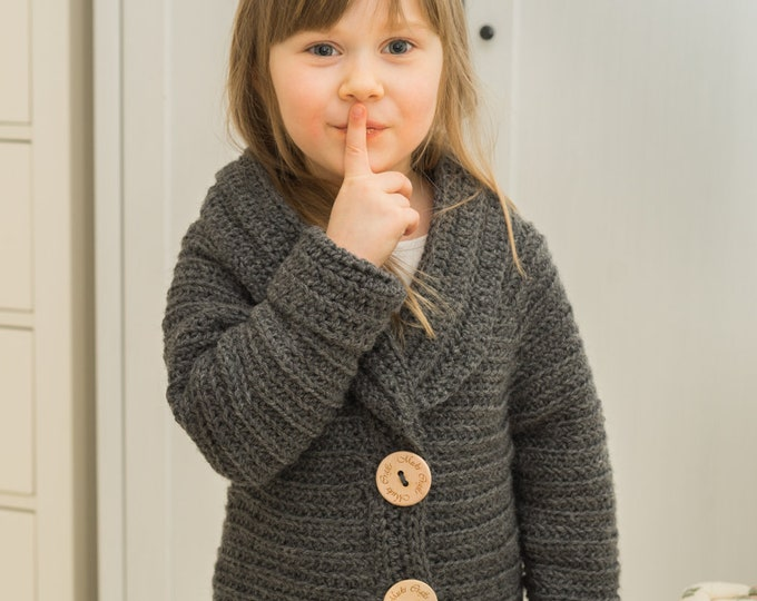 CROCHET PATTERN cozy jacket Simone (1-12-year-old-sizes)