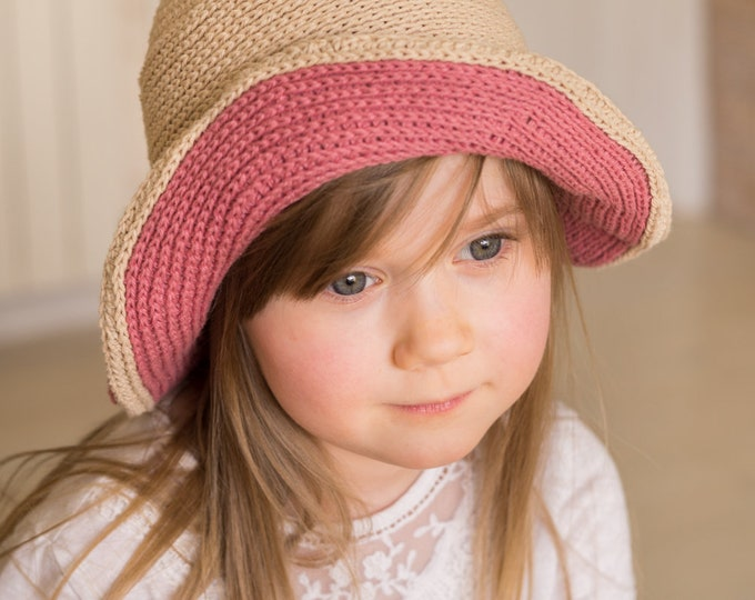 CROCHET PATTERN summer brimmed hat Samatha (baby/ toddler/ child/ woman sizes)
