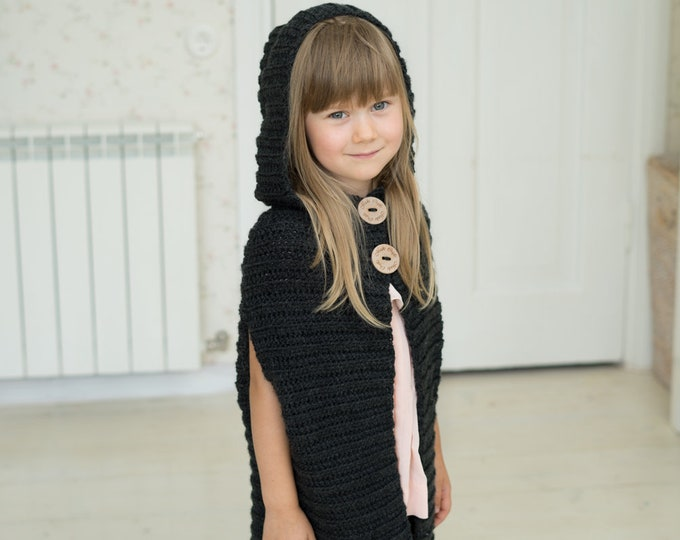 CROCHET PATTERN basic hooded cape poncho Hunter (toddler/child sizes)