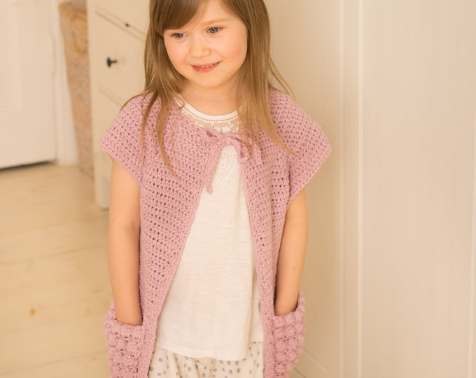 CROCHET PATTERN sleeveless cardigan Carla with puff stitch pockets (toddler and kids sizes)