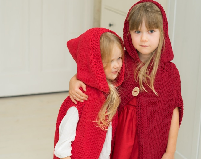 KNITTING PATTERN Little Red Riding Hood Cape Sigrid (toddler, kids sizes)