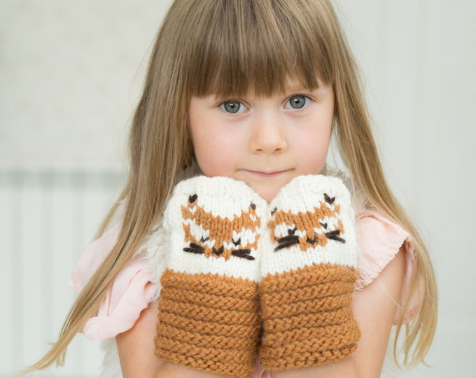KNITTING PATTERN Fox Gerda wrist warmers (toddler, child, adult sizes)