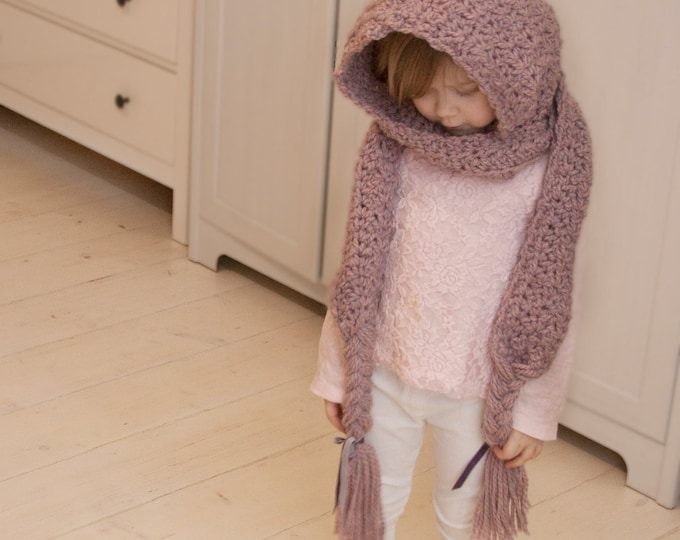 CROCHET PATTERN hooded scarf with braids Annabel  (toddler, child and adult sizes)