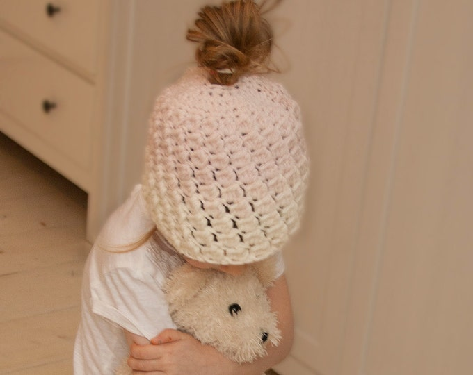 CROCHET PATTERN ombre bun hat Susan (toddler, child, adult sizes)