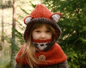 CROCHET PATTERN fox hooded cowl Reed with inner cowl