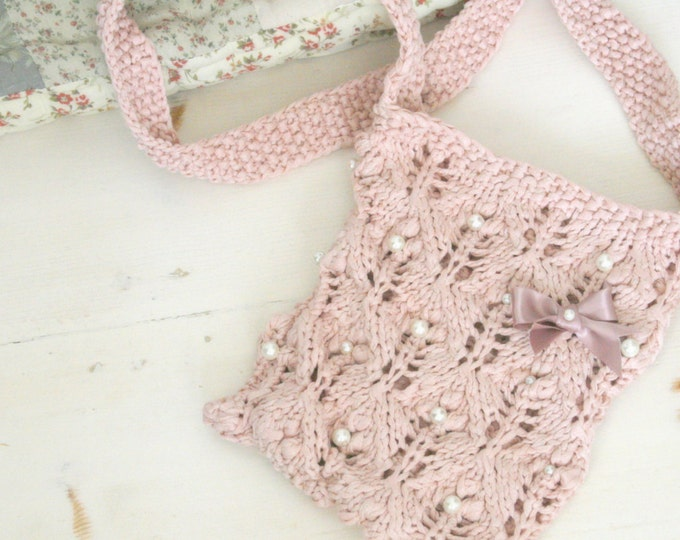 KNITTING PATTERN summer lace bag Lilac with beads and bobble stitch