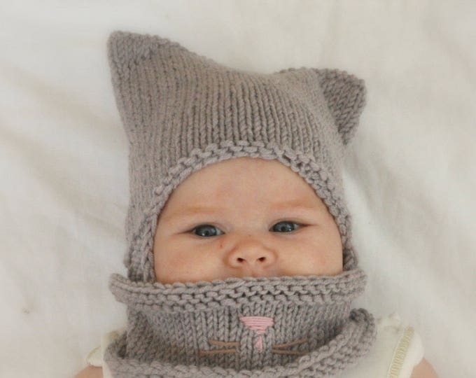 KNITTING PATTERN Cat earflap hat and cowl set (newborn/baby/toddler/child/woman sizes)