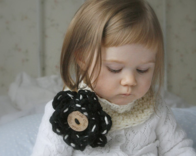 CROCHET PATTERN headband or cowl Diana with a flower (baby/toddler/child/woman sizes)