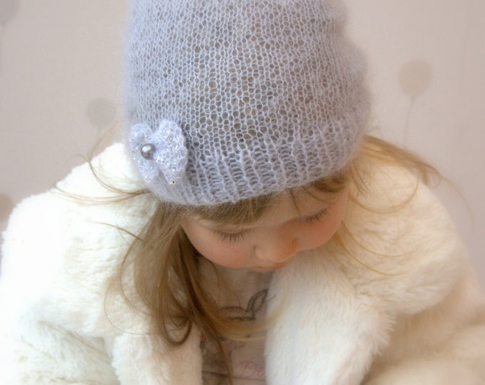 KNITTING PATTERN basic slouchy mohair hat with a bow Iris (baby, toddler, child, woman sizes)