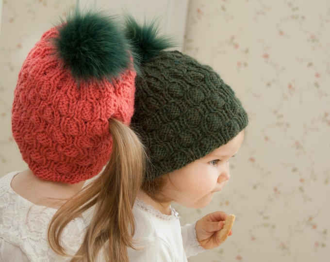 KNITTING PATTERN ponytail hat Abbey (toddler, child, woman sizes)