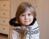 KNITTING PATTERN hooded cowl Eskimo with inner cowl and fair isle (baby, toddler, child, adult sizes)