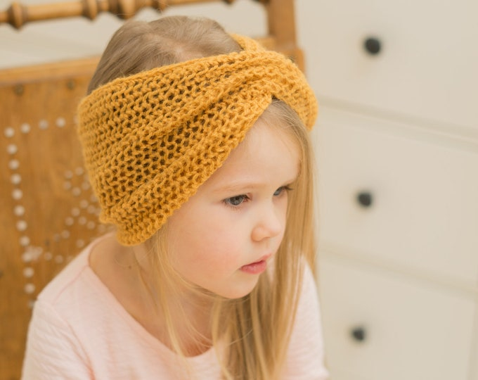 KNITTING PATTERN mesh turban headband wrap Sofia (kids and adult sizes)