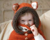 Fox hooded cowl Rene with inner cowl (baby, toddler, child or adult size)