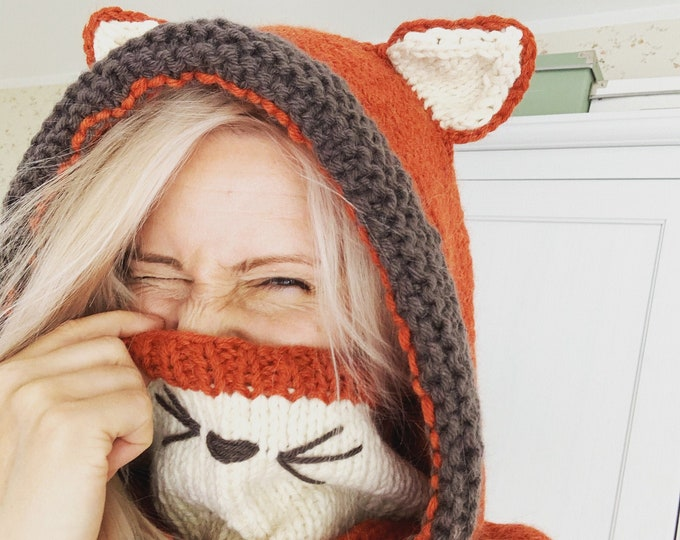 Fox hooded snood Rene with inner cowl (baby, toddler, child or adult size)