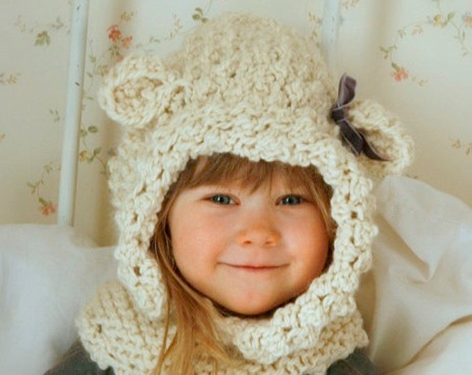 KNITTING PATTERN hooded cowl sheep Ulla knitted flat (baby, toddler, child sizes)