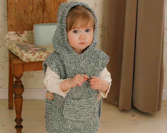 KNITTING PATTERN easy hooded poncho Phoebe (toddler, child, adult sizes)