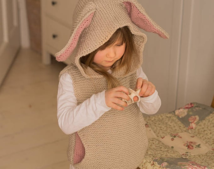 KNITTING PATTERN hooded vest with a pocket and bunny ears Flopsy (toddler and kids sizes)