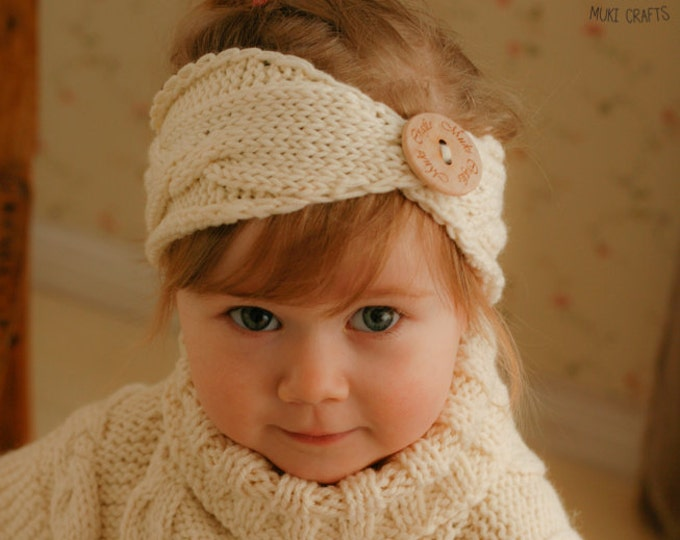 KNITTING PATTERN cable headband headwrap Fryda (newborn, baby, toddler, woman sizes)