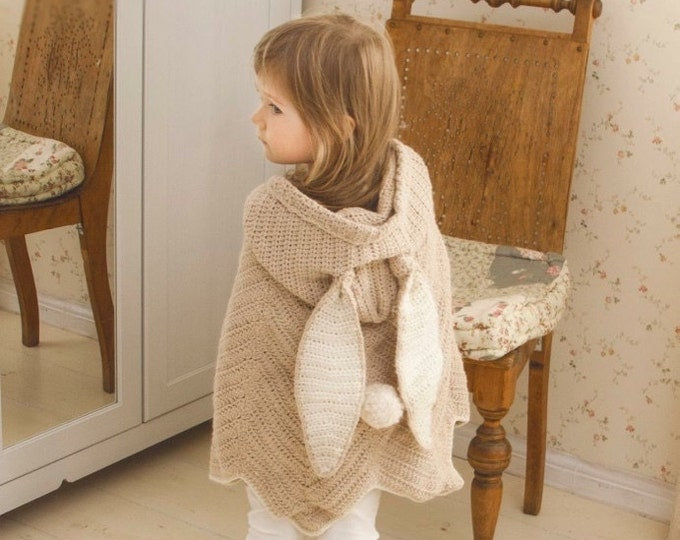 CROCHET PATTERN poncho cape Bubbles with hood and bunny ears (toddler/child/adult sizes)
