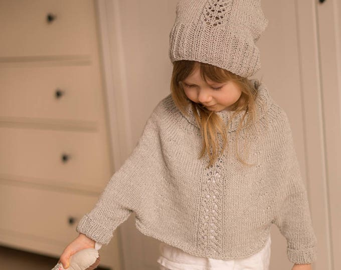KNITTING PATTERN sleeved poncho and hat set Mandy with lace (toddler, child sizes)