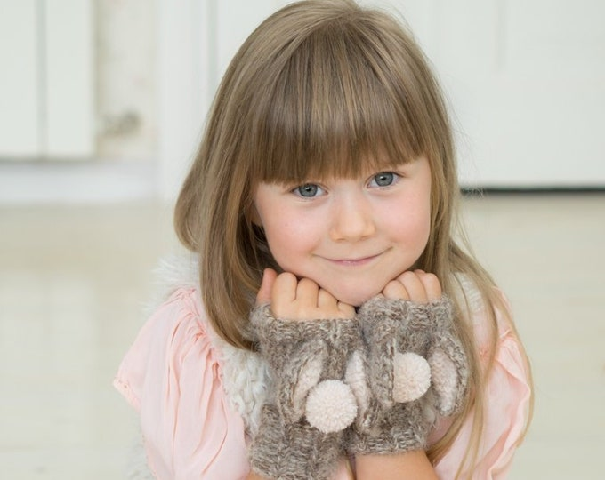 KNITTING PATTERN Bunny April wrist warmers (toddler, child, adult sizes)