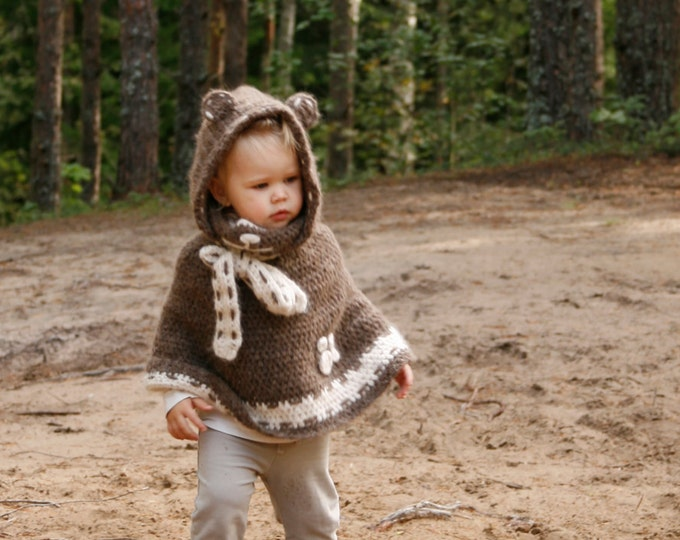 CROCHET PATTERN teddy bear poncho Ruben with a hood (toddler/child sizes)