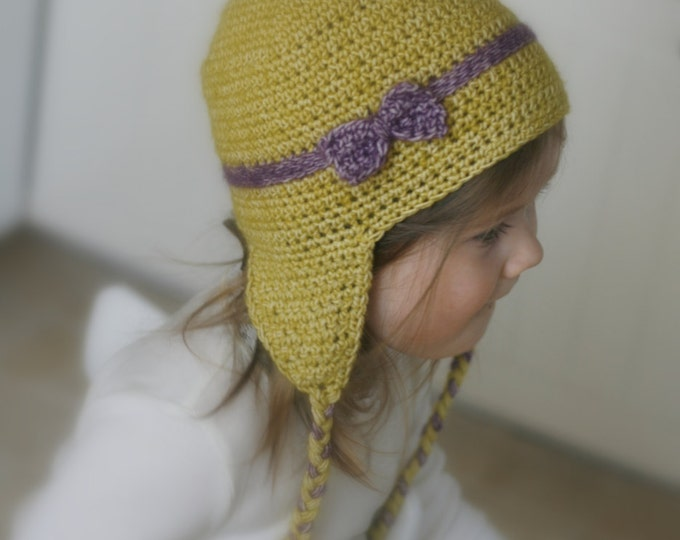 CROCHET PATTERN earflap hat Cassie with a bow (6-12m/ toddler/ child/ woman sizes)
