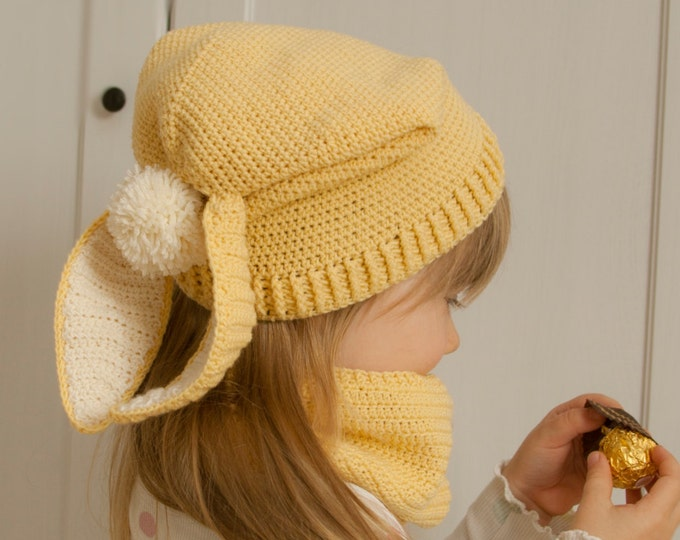 CROCHET PATTERN bunny slouch hat and cowl set Gemma (12m/toddler/child/adult sizes)