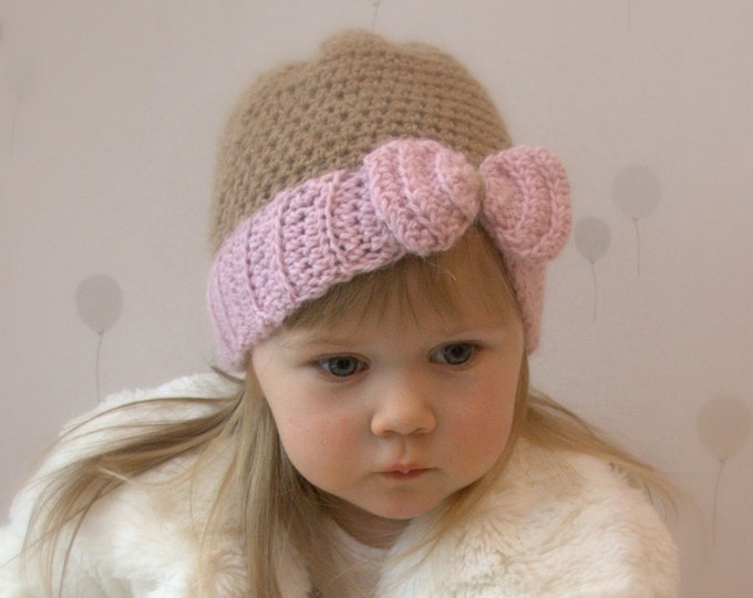 CROCHET PATTERN bow hat Pippa newborn, baby, todddler, child sizes