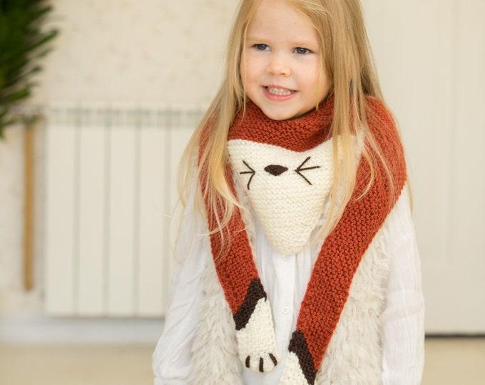 KNITTING PATTERN fox, cat, wolf scarf Ginger (kids size)