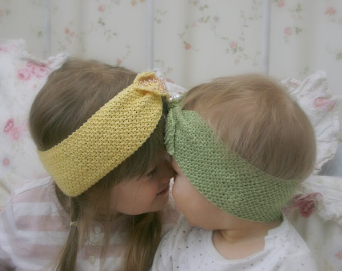 KNITTING PATTERN bow headband headwrap with beads Alisa (newborn/baby/toddler/child/adult woman sizes)