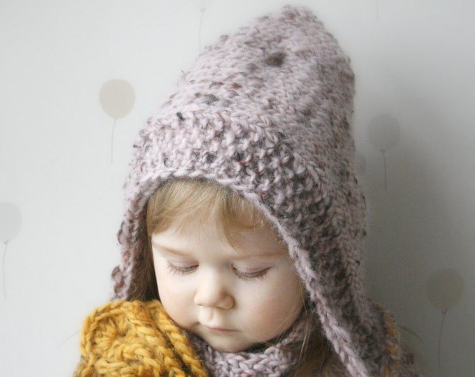 KNITTING PATTERN  hooded cowl set Salome with crochet flower (baby, toddler, child, adult sizes)