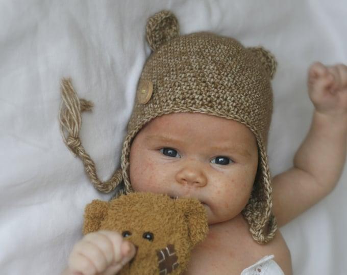 CROCHET PATTERN bear earflap hat Ferdinand (newborn / baby / toddler/ child size)