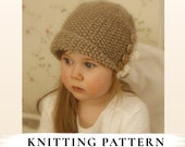 KNITTING PATTERN cloche Frida with ruffle x Downtown Abbey x Brimmed hat x Girls hat pattern x Aran hat pattern