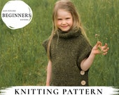 KNITTING PATTERN poncho Campbell x Easy bulky kids poncho pattern x Collar poncho x Chunky knits x Women's sleeveless sweater