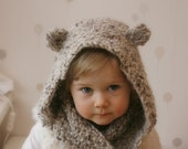 KNITTING PATTERN hooded infinity scarf Willow (child and adult sizes)
