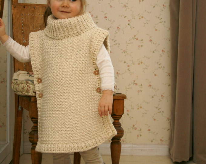 CROCHET PATTERN poncho Scarlett with turtleneck and buttons (toddler/child/adult sizes)