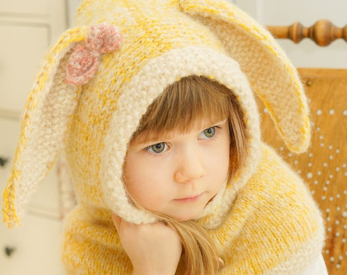 Knitted bunny hooded cowl Windsor with inner cowl (kids size)