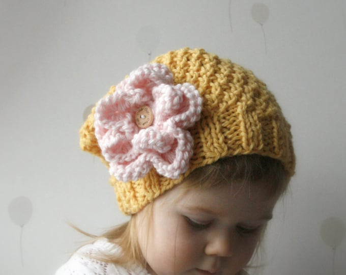 KNITTING PATTERN slouchy hat Jenny with a flower (baby, toddler, child, woman sizes)