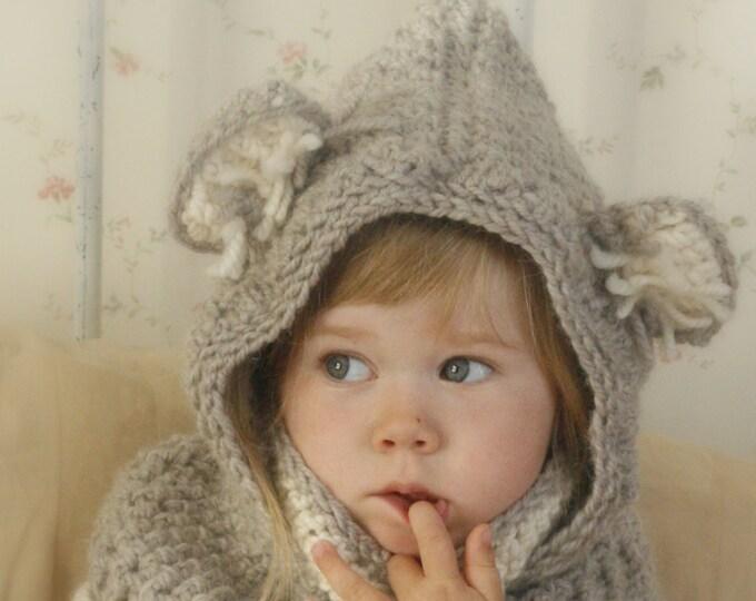 CROCHET PATTERN hooded cowl Koala with inner cowl (toddler/child/adult sizes)