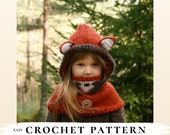 CROCHET PATTERN fox hooded cowl Reed with inner cowl x Fox snood x Easy hooded cowl x Kids hood x Wolf pattern x Halloween crochet
