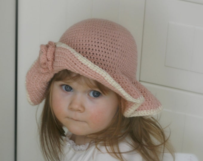 CROCHET PATTERN sun brim hat with flower Hella (baby / toddler/ child/ woman sizes)