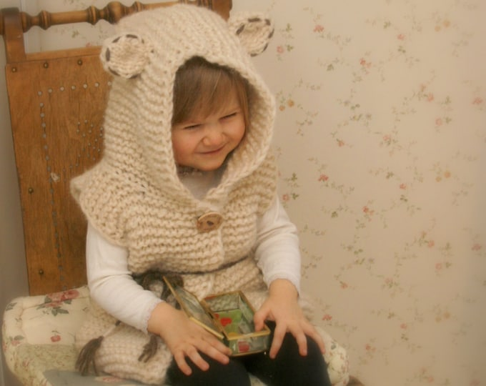 KNITTING PATTERN bear vest Sheridan with hood  (2-3y/4-5y/6-7y/8-10y/11-12y sizes)