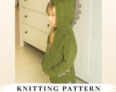 KNITTING PATTERN dragon hooded sweater Rex x Boys sweater pattern x Dinosaur knitting pattern x Free pattern gift x Pullover knit pattern
