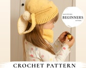 CROCHET PATTERN bunny slouch hat and cowl set Gemma x Free pattern gift x Easy hat x Slouchy crochet hat