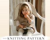 KNITTING PATTERN bunny poncho with pocket Phoebe x Beginner knitting pattern x Easy hooded poncho x kids poncho pattern x Bunny pattern