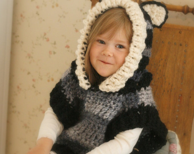 CROCHET PATTERN fox wolf hooded chunky poncho Max (toddler/child/ adult  sizes)