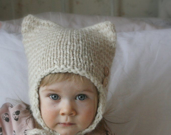 KNITTING PATTERN cat striped earflap hat Kitty Kat (baby/ toddler/child/ woman sizes)