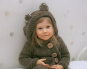 KNITTING PATTERN chunky hooded bear cardigan Skylar (2-3/4-5/6-7/8-10 year old sizes)