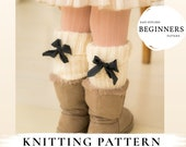 KNITTING  PATTERN easy leg warmers Elena x Beginners legging x Rib x Easy kids and adult knit pattern x Free gift